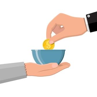 Hand die gouden munt geeft aan bedelaarshand. liefdadigheid, donatie, hulp en hulp concept. vectorillustratie in vlakke stijl