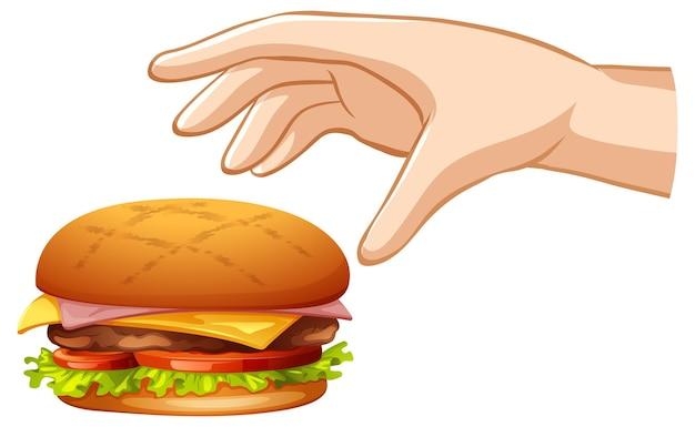 Hand die hamburger op witte achtergrond probeert te grijpen