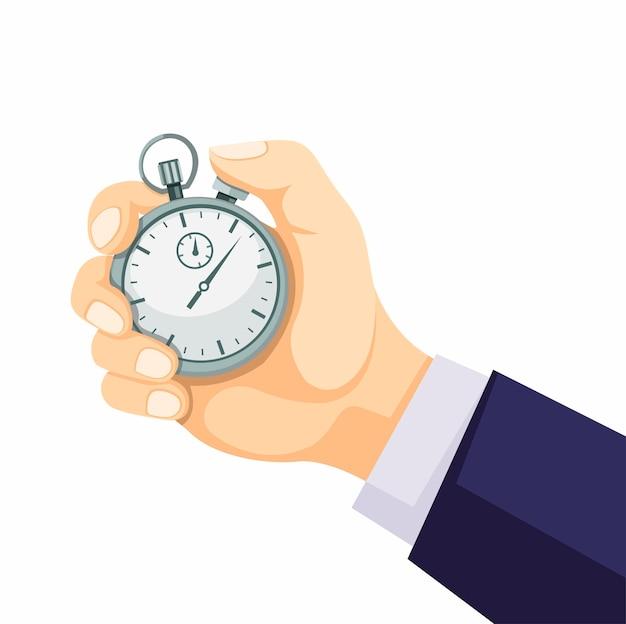 Hand die het klassieke concept van de chronometertijdopnemer in beeldverhaal vlakke die illustratie houden op witte achtergrond wordt geïsoleerd