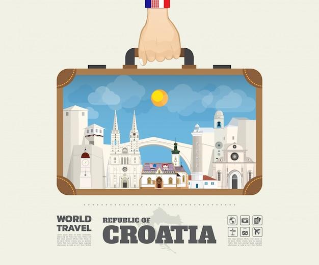 Hand die het oriëntatiepunt globale reis van kroatië en de zak van reisinfographic vervoeren.