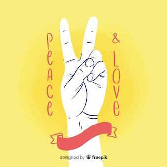 Hand die het vredesteken met hand getrokken stijl doet