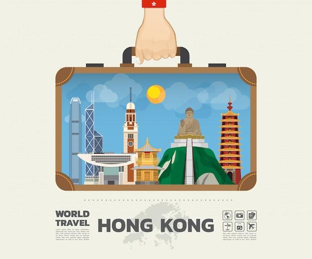 Hand die hong kong-oriëntatiepunt globale reis en reis infographic-zak dragen.