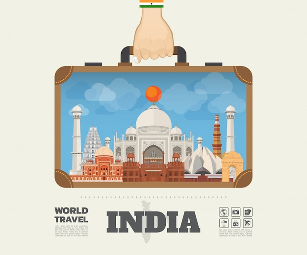 Hand die india landmark global travel en journey infographic bag dragen. vector platte ontwerpsjabloon. vector / illustratie. kan worden gebruikt voor uw banner, bedrijf, onderwijs, website of elk kunstwerk