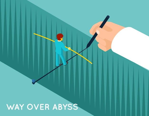 Hand die manier over afgrond voor zakenman trekt. succescarrière, prestatie, gevaar en professional