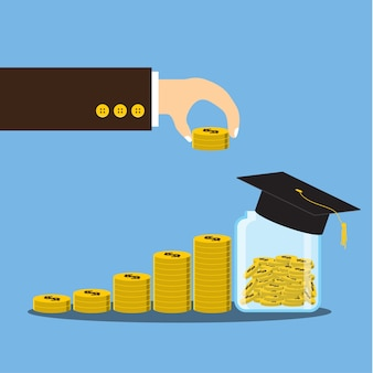 Hand die muntstuk op financiële de stapelgroei zetten