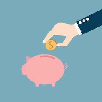 Hand die muntstuk zetten in een spaarvarken, geldconcept opslaan en investeren, illustratie.