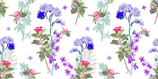 Hand die naadloos bloemenpatroon trekt