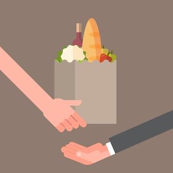 Hand die papieren zakhoogtepunt van producten geven, het concept van de kruidenierswinkellevering