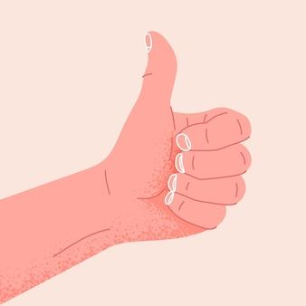 Hand die symbool toont oke of goed gebaar van duim omhoog als positieve vectorillustratie