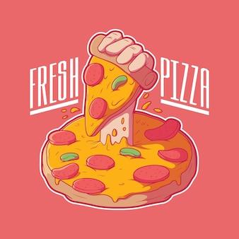 Hand die uit een pizza komt die een plak vectorillustratie houdt het grappige ontwerpconcept van het voedselmerk