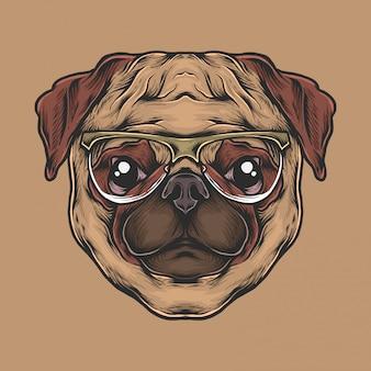 Hand die uitstekend pug hoofd met zonnebril vectorillustratie trekt
