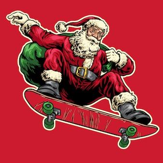 Hand die van de kerstman wordt getrokken die op skateboard springt