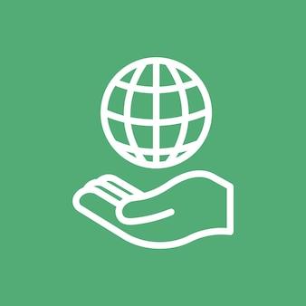 Hand die wereldbolpictogram voor zaken in eenvoudige lijn voorstelt