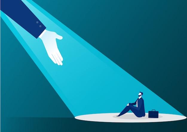 Hand die zakenman helpt van licht op blauw