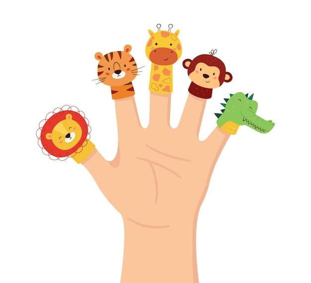 Hand dieren poppen. kinderen vinger theater. familie vrije tijd. leeuw, tijger, giraf, aap en krokodilpoppen. vectorillustratie geïsoleerd op een witte achtergrond in de hand getekende stijl