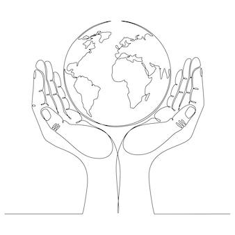 Hand doorlopende lijntekening met wereldbol vectorillustratie