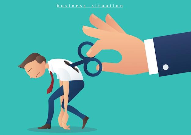 Hand draaiende spoel op zakenman