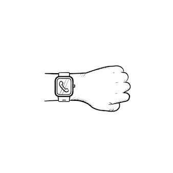 Hand dragen slimme horloge met inkomende oproep hand getrokken schets doodle pictogram. slim apparaat, modern gadgetconcept. schets vectorillustratie voor print, web, mobiel en infographics op witte achtergrond.