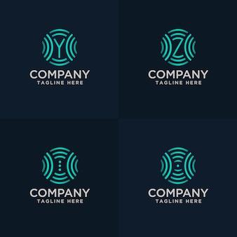Hand draw letter yz en symbool met signaal logo concept