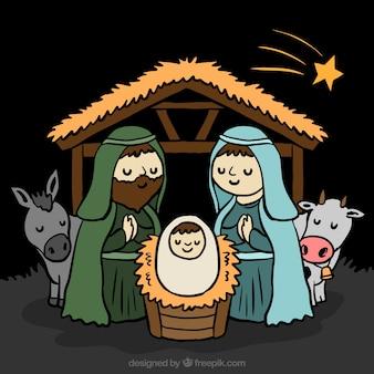 Hand-drawn achtergrond van de kerststal