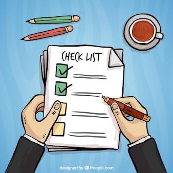 Hand-drawn achtergrond van de persoon het invullen van een vragenlijst