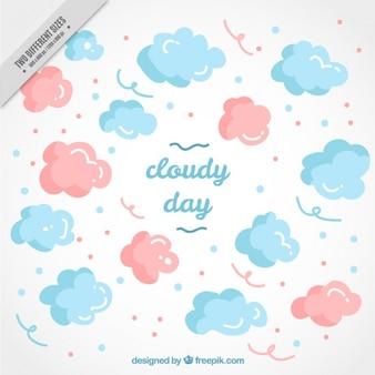 Hand-drawn achtergrond van roze en blauwe wolken