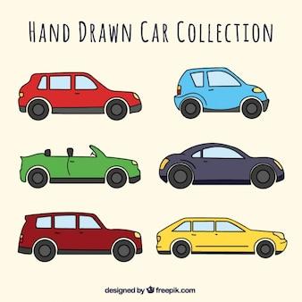 Hand-drawn collectie van voertuigen met verschillende designs
