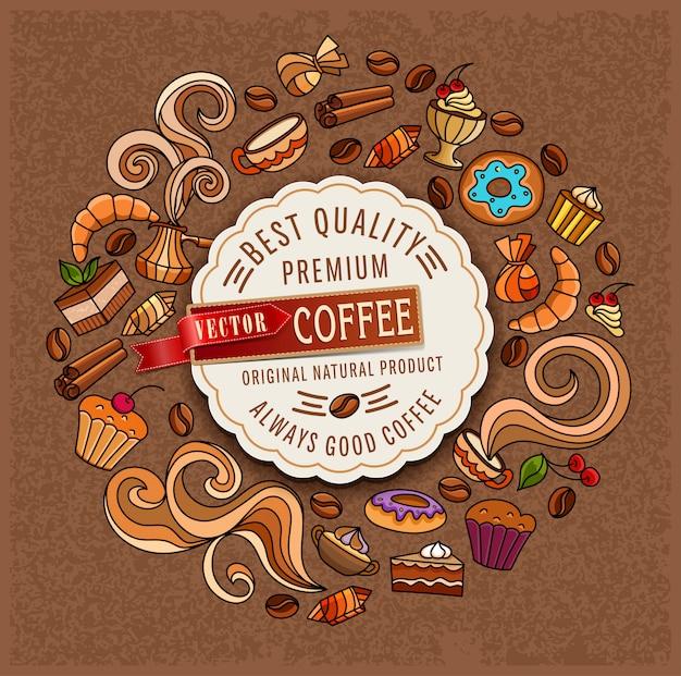 Hand-drawn vectorkrabbels op een koffiethema