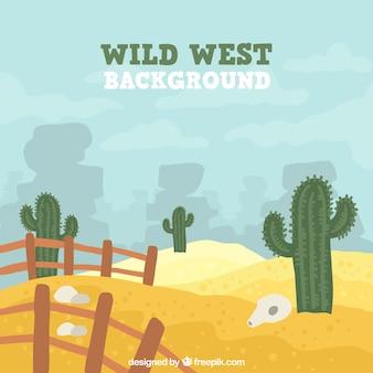 Hand-drawn wild west achtergrond met cactus