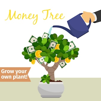 Hand drenken geldboom