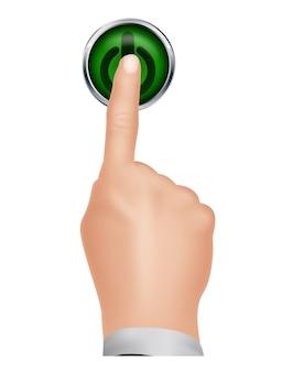 Hand druk op draai herhalen op knop van geïsoleerde achtergrond