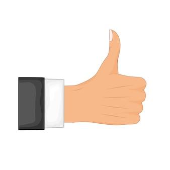 Hand duim omhoog teken. positieve feedback, goede gebaren, zoals. vlakke stijl