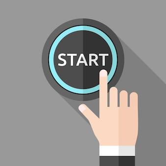 Hand duwen startknop op grijze achtergrond met lange schaduw. platte stijl. technologie, keuze, business, begin en start-up concept. eps 8 vectorillustratie, geen transparantie