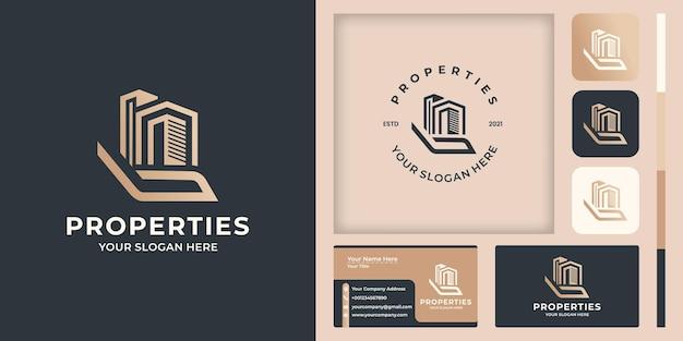 Hand en gebouw logo-ontwerp en visitekaartje