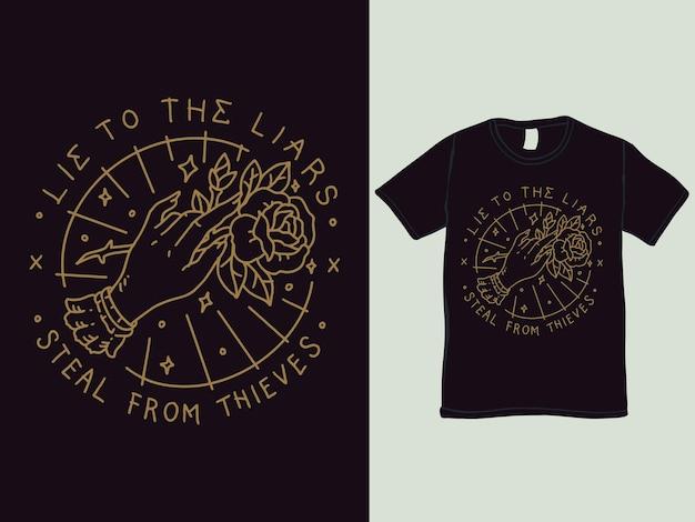 Hand en het ontwerp van het t-shirt van de rozenmonoline