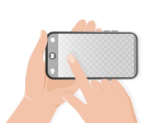 Hand fotograferen getekend met smartphone. mobiele telefoon. smartphone pictogram illustratie. foto lijstje. telefoon pictogram. cameraframe.