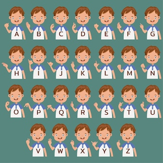 Hand gebarentaal collectie brief az. stripfiguur gebaren symbolen. uitdrukking leren communiceren, gebarentaal