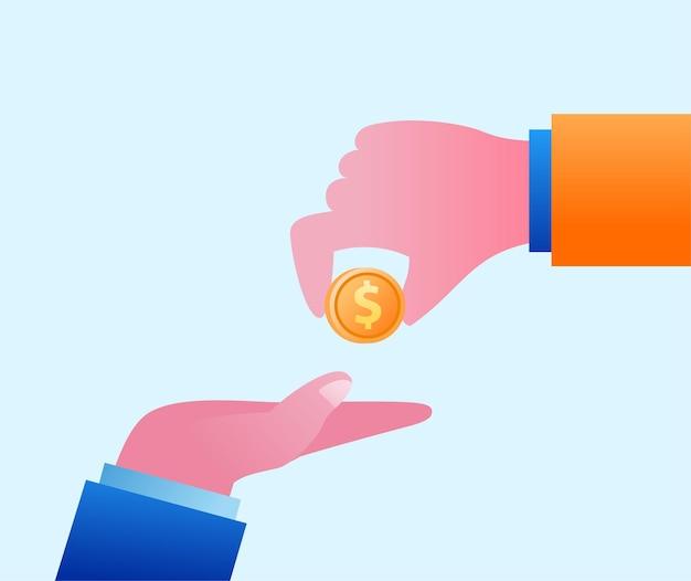 Hand geef een munt aan een andere hand. beloning concept platte vectorillustratie