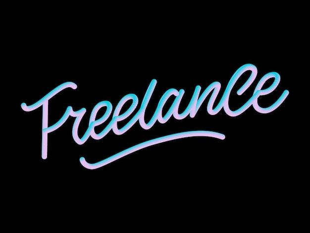 Hand geschetst 3d freelance woord.