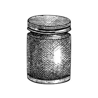 Hand geschetst aromatische kaars in een glazen pot illustratie tekening van de zelfgemaakte kaars homemade