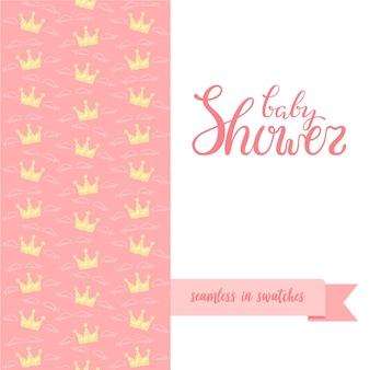 Hand geschetst babydouche poster met naadloos patroon.