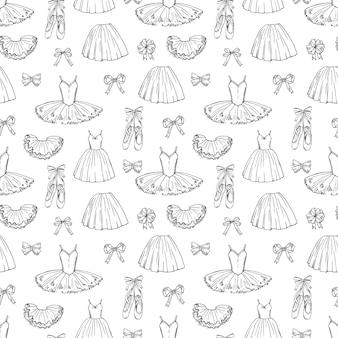 Hand geschetst ballet jurken en schoenen naadloze patroon