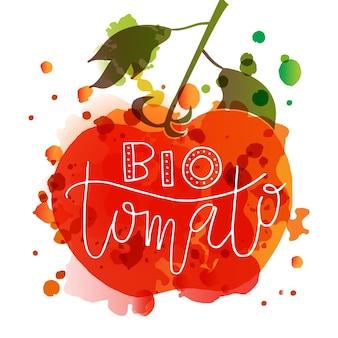 Hand geschetst bio tomato belettering typografie concept voor boerenmarkt biologisch voedsel natuurlijk