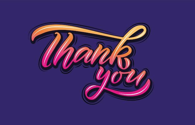 Hand geschetst dank u belettering typografie handgeschreven inspirerende citaat dank u hand getrokken