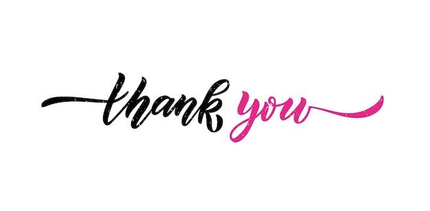 Hand geschetst dank u belettering typografie handgeschreven inspirerende citaat dank u hand tekenen