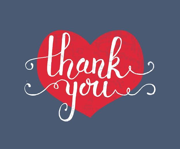 Hand geschetst dank u tekst als logo, badge en pictogram. dank u briefkaart, kaart, uitnodiging, flyer, sjabloon voor spandoek. dank u belettering typografie. romantisch citaat