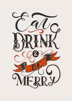 Hand geschetst eet drinken en wees vrolijk belettering typografie happy thanksgiving day sjabloon