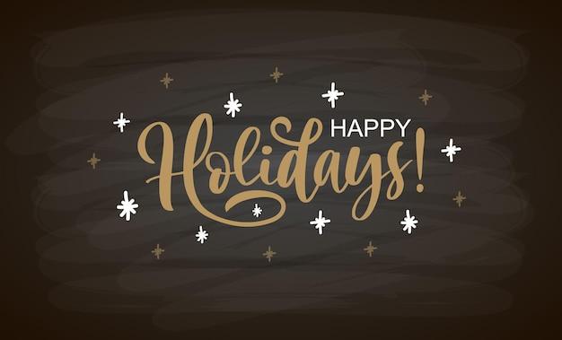 Hand geschetst gelukkige vakantie kaart badge pictogram typografie belettering vrolijk kerstfeest voor kerst nieuw