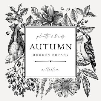 Hand geschetst herfst retro design met vogels elegante botanische vierkante sjabloon