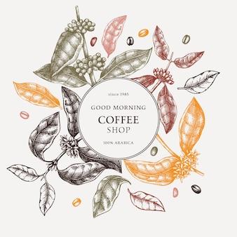 Hand geschetst koffie krans ontwerp in kleur